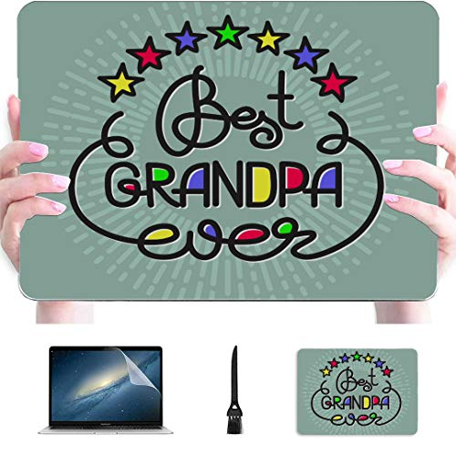 Case Macbook Air Best Grandpa Ever Handwritten Lettering Grandparents Plastic Hard Shell Compatible Mac Laptop Case Mac Protection Accessories For Macbook With Mouse Pad