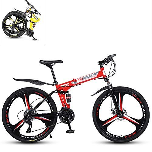 Yajun Bicicletta Pieghevole Mountain Bike A Doppio Freno A Disco Studente Absorber Riding Adatto per Adulti 26 Pollici,B