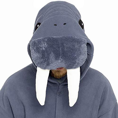 dressfan Animal Combinaison Walrus vêtements de nuit Pyjama Adulte Unisexe Polaire Cosplay Costumes Costume de Performance(Dunkelgrau)