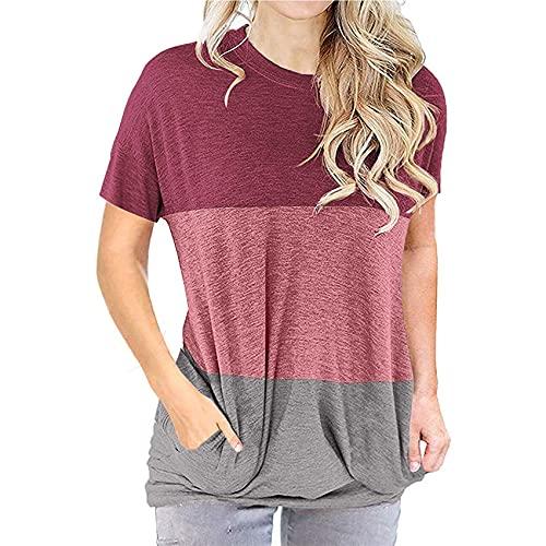 Primavera Y Verano Camiseta Suelta De Cuello Redondo con Costura De Tres Colores De Manga Corta para Mujer Camiseta Superior Informal para Mujer