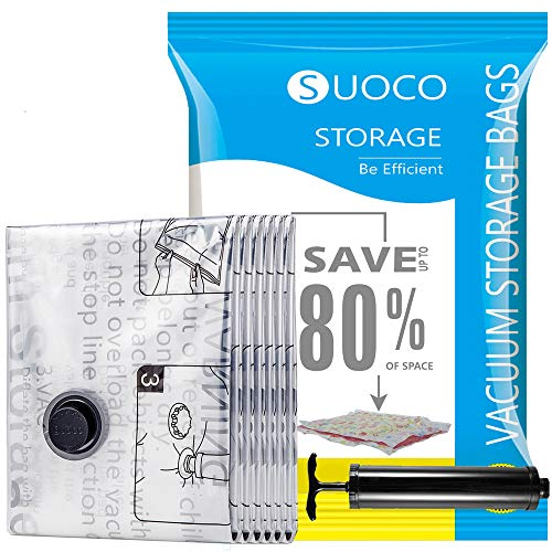 SUOCO Space Saver Bags 6 Pack (Small 24' x 16') Vacuum Storage Sealer Bags for Blankets Clothes Pillows Comforters with Hand Pump