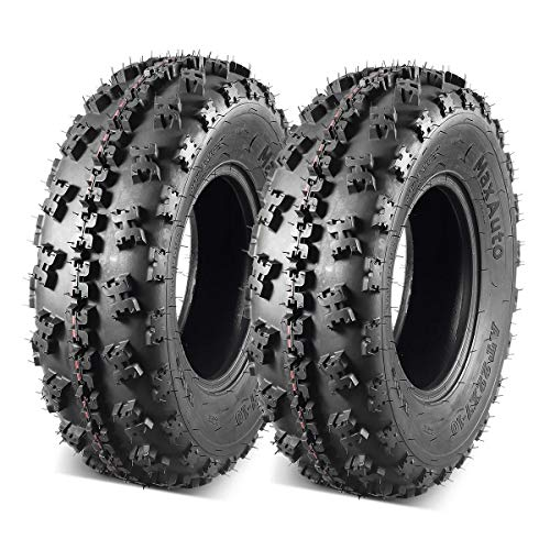 Set of 2 MaxAuto ATV Tires 22x7-10 22x7x10 Front Tubeless Mud Sand Snow and Rock Tires UTV Knobby Sport Tires 22-7-10 6Ply