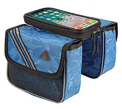 LJWLZFVT Bike Frame Bag Gifts for Him Bicycle bag Waterproof Phone Holder Bike Bags for Frame Top Tube Bicycle Pouch Bag with Touchscreen rain cover Bicycle Frame Bag Blue oxford cloth 18x10x15cm