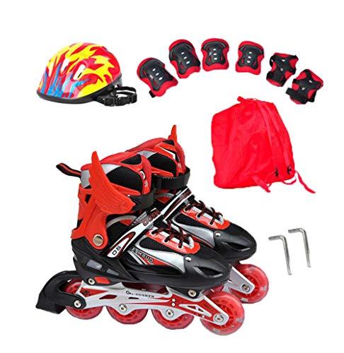 GUOCU Verstellbar Inliner für Kinder, Leucht Inline Skates Rollschuhe für Damen/Herren,Rot,S (2 Flash Wheels)