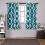 Exclusive Home Curtains - Cortinas Opacas con Ojales en la Parte Superior (2 Unidades), poliéster, Verde Azulado, 52x63