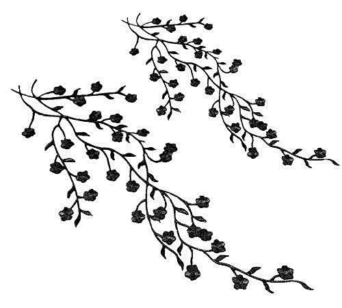 Honbay 2pcs Big and Small Plum Blossom Flower Leaf Vines Iron on Embroidery Applique Patch (Black)