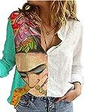 Camisa de Manga Larga con Estampado de Avatar de Personaje para Mujer, Camisa de Oficina con patrón de Pintura Abstracta Blusa de Lino y algodón Tops S-XXXL
