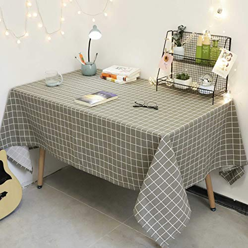 DJUX weiße frische kleine blaue Linie dicke Baumwolle Leinen Quaste Tischdecke frische literarische Tischdecke Teetischdecke Picknickdecke, grau, 140 cm