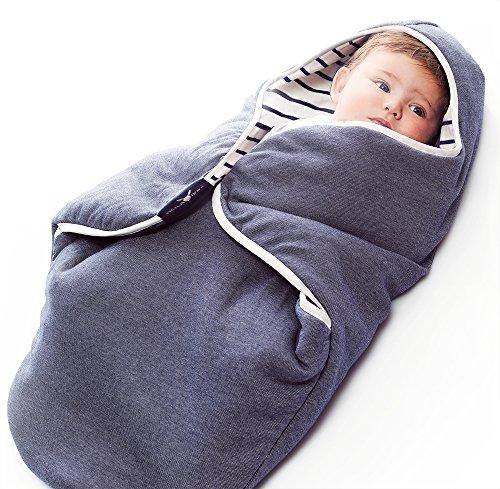Wallaboo Einschlagdecke Coco, Universal für Babyschale, Autositz, zB. Für Maxi-Cosi, Römer, für Kinderwagen, Buggy oder Babybett, 100% Baumwolle, 90 x 70 cm, Farbe: Blau Getreift - Gemischt
