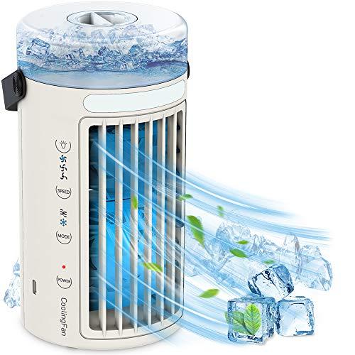 WELTEAYO Mini Air Cooler, Mobile Klimageräte, 4-in-1 Luftkühler Persönliche Klimaanlage Tragbare USB Verdunstungskühler Mit Wasserkühlung Ventilator, 3 Geschwindigkeiten, für Arbeitsplatz, Daheim