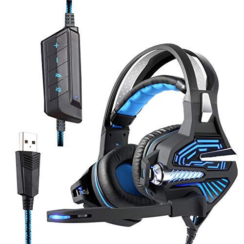 ENEN USB-kabelgebundenes Gaming-Headset, hochempfindliches 360 ° -Mikrofon RGB-Kaltlicht-Controller, virtueller 50-mm-Lautsprecher 7.1-Kanal, geeignet für PC-Blue