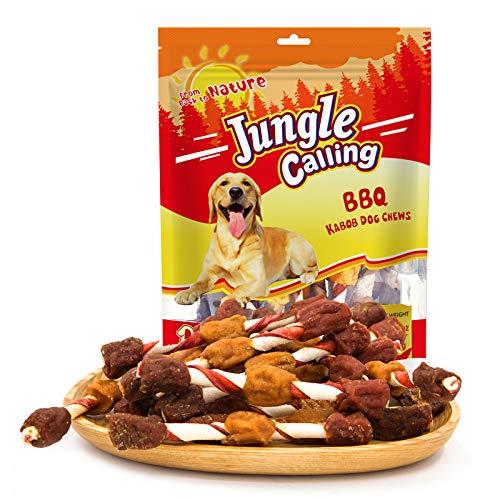 Jungle Calling Bastoni per Macinazione di Animali Domestici, Snack per l'addestramento dei Cani, Half-Air Essiccato Rotolo di Manzo e Pollo 15 PCS 300g