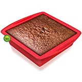 Silicone Square Cake Pan - Walfos Silicone Brownie Pan with Non-slip Grips, Non-Stick and BPA Free, Perfect for Brownie, Cake, Bread, Pie and Lasagna