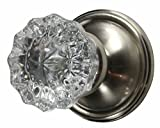 Regency Fluted Glass Door Knob with Victorian Plate Rosettes in Brushed Nickel (Privacy Bed/Bath)