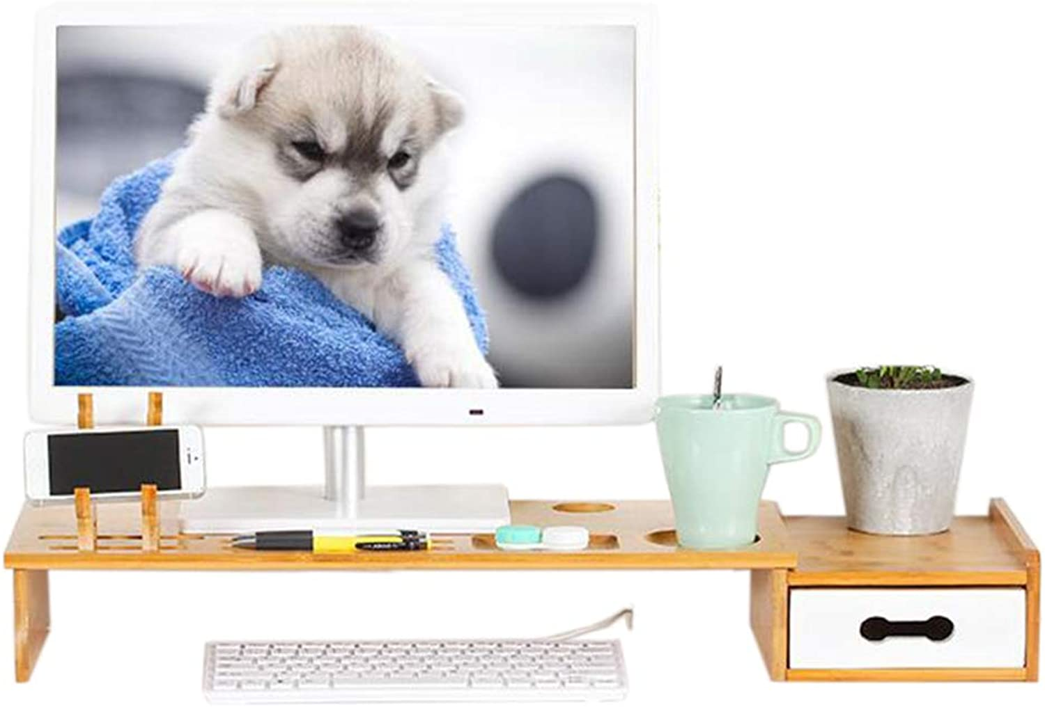 JCAFA Shelves Desktop Monitor Stand for Computers, Notebooks Desktop Organizer Storage Keyboard with White Drawer, Bamboo (color   A, Size   27.16  9.05  3.54in)