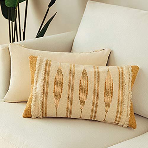 MOCOFO Funda de cojín de 30x50 cm, Color Crema, Blanco y Gris Tejido, con Flecos, para sofá o sofá, Funda Bordada, Color Amarillo