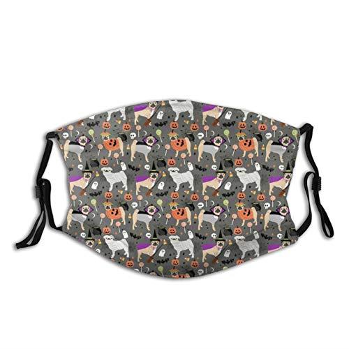 Ninjz8 Bandanas unisex reutilizables y lavables para la cara, disfraz de carlino de Halloween con 2 filtros para mujeres y hombres
