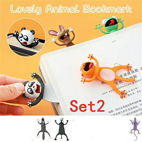 DBWICH 3Pcs Wacky Bookmark Palz - More Fun Reading, 3D Cartoon Squashed Animal Bookmarks Novelty Funny Cute Stationery, Stereo Cartoon Lovely Birthday Party Gift for Kid Student (Set2)