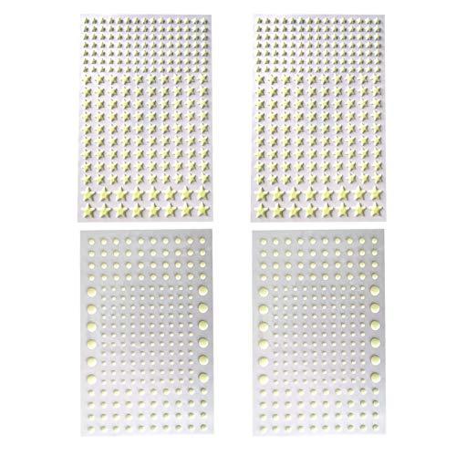 SunshineFace Leuchtende Wandaufkleber, Sterne, runde Aufkleber, fluoreszierend, für Schlafzimmer, Kinderzimmer