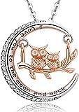 Collar de búho y luna para mujer, plata de ley 925, joyería de búho animal, regalo para mujeres amantes de los...