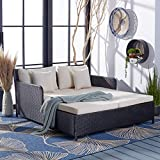 Safavieh PAT7500A Outdoor Collection Cadeo Black and Beige Cushion Daybed
