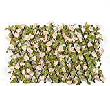 ZHEYANG Hiedra Artificial Pantalla de Cerca de privacidad Valla de Madera Artificial Flor Artificial Seto Enrejado Jardín Pantalla de privacidad expandible para Jardines Balcón y terrazas Hiedra Art