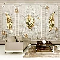 ヨーロピアンスタイルゴールデンリーフボール3Dステレオ大理石壁紙リビングルームテレビソファ背景壁家の装飾クリエイティブアート3D壁画