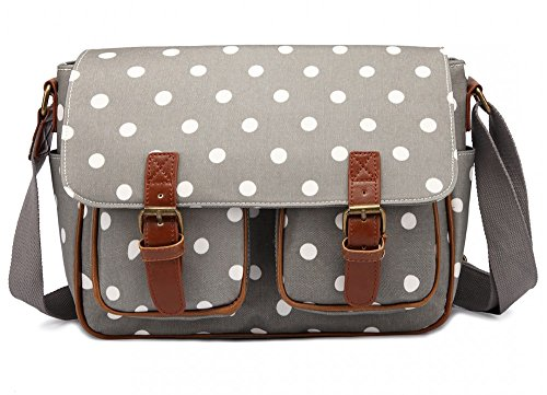 The Olive House Womens Polka Dot Matte Oilcloth Satchel Grey