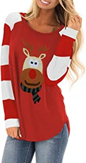 Women Christmas Elk Print Long Sleeve Splicing Casual Tops Pullover Patchwork T-Shirts Tops