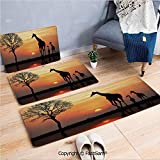 FashSam 3 Piece Flannel Doormat Giraffes on Bushes by Lake Surface Horizon in The Middle of Nowhere Image for Kitchen Rugs Carpet(W15.7xL23.6 by W19.6xL31.5 by W35.4xL62.9)