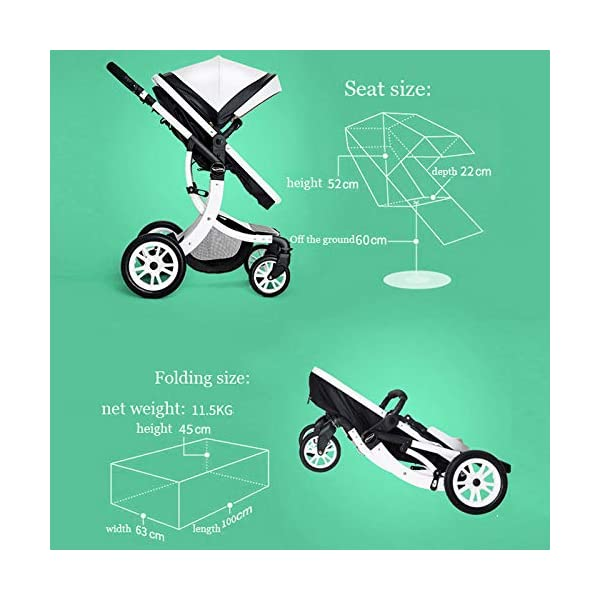 JXCC Baby Stroller Ultra Light Folding Child Shock Absorber Trolley Can Sit Half Lying 0-3 years old,15kg maximum -Safe And Stylish B JXCC 1. {All seasons} - Three-sided mesh design, the awning can be adjusted at multiple angles to easily cope with the sun 2. {55CM high landscape} - Baby can stay away from hot air surface, car exhaust, for baby's health 3. {3D Stereo Vibration} - X-frame design, evenly dispersing the upper weight, front wheel built-in suspension, rear wheel frame suspension 3
