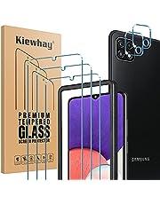Kiewhay Schermbeschermer Compatibel met Samsung Galaxy A22 5G Screen Protector, 3x Gehard Glas +2x Camera Lens Protector, [9H HARDHEID] HD Screenprotector voor Samsung Galaxy A22 5G - 5 Stuks