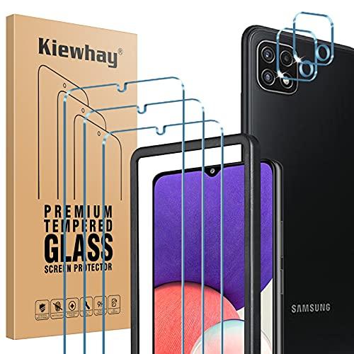 Kiewhay Pellicola Protettiva Compatibile con Samsung Galaxy A22 5G Vetro Temperato, 3x Pellicola Vetro +2x Pellicola Fotocamera, [9H DUREZZA] HD Pellicola Vetro per Samsung Galaxy A22 5G - 5 Pezzi