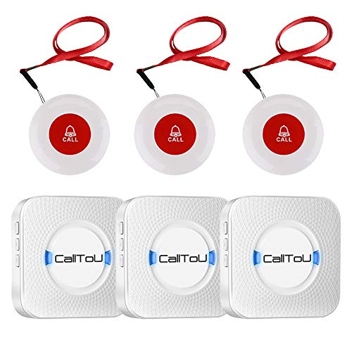 CallToU Wireless Caregiver Pager Call System 3 SOS Call Buttons Transmitters 3 Receivers Nurse Calling Alert Patient Help System for Home Personal Attention Pager 500+Feet Plugin Receiver Alert