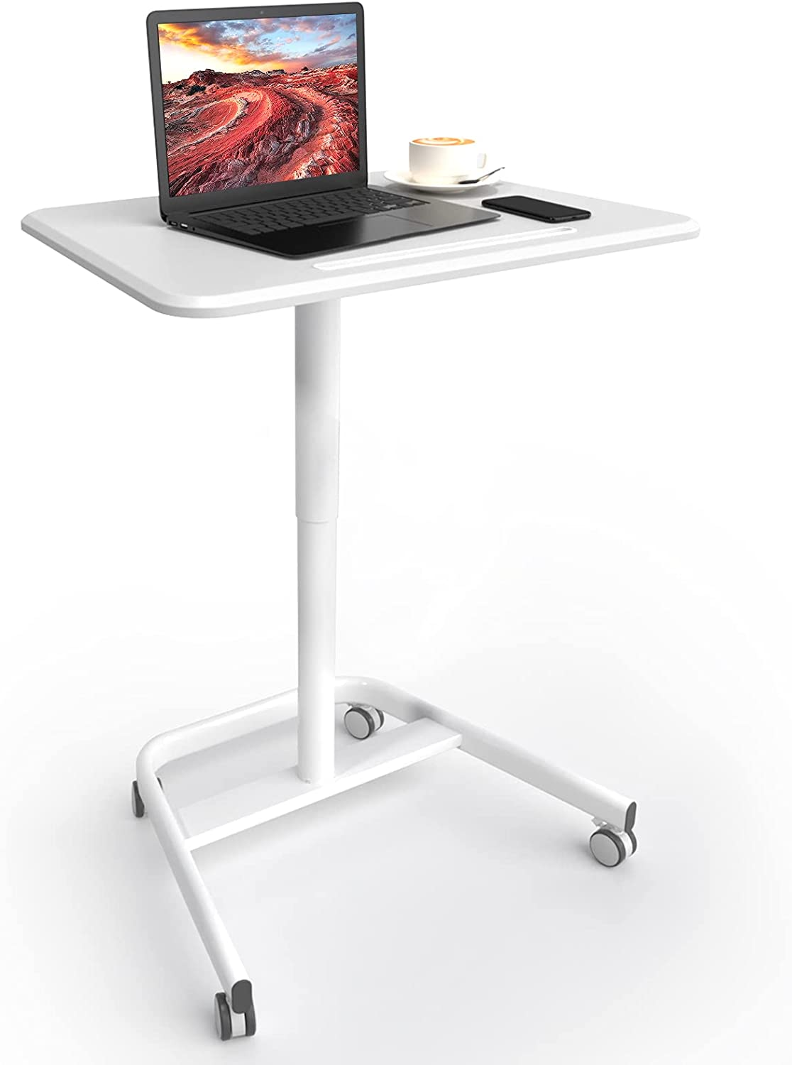 """Pneumatic Laptop Standing Desk,Height Adjustable from 29.5"""" to 43.3"""" Mobile Computer Workstation,Glorider Rolling Sit-Stand Cart- Mobile Podium Portable Lectern for Home, Office& Classroom: Kitchen & Dining"""
