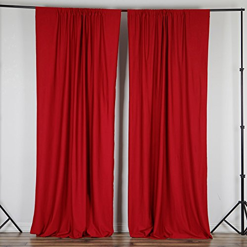 BalsaCircle 10 ft x 10 ft Red Polyester Photography Backdrop Drapes Curtains Panels - Wedding Decorations Home Party Reception Supplies