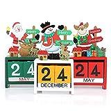 3 Pezzi Calendario Natalizio in Legno Calendario Conto alla Rovescia da Tavolo Decorativo Calendario dell'Avvento Natalizio Ornamenti Stereoscopici Ornamenti da Tavolo Natalizio per la Scuola Home