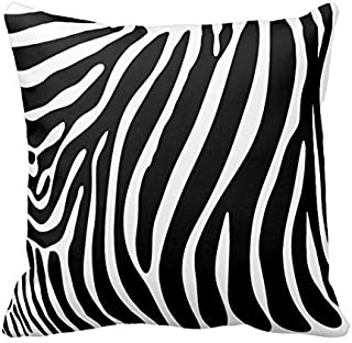 Black and White Zebra Print Stripes Animal Print Throw Pillow Case Decor Cushion Cover 18x18 Inches