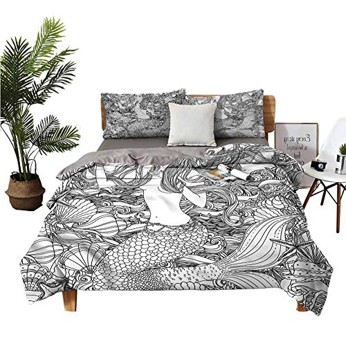 3-Piece Bedding Set Winter Sheets Silk Sheets Shells Starfish Seaweed Bed Sheets King Size Deep Pocket W90 xL90 Zippered Quilt Cover and 2 Envelope Pillowcases