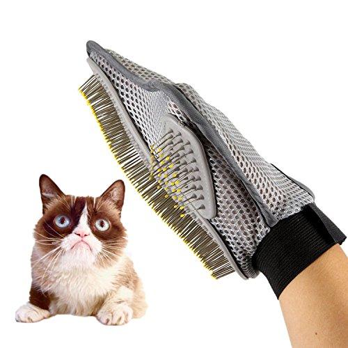Guante de aseo para mascotas de AntEuro, cepillo profesional para eliminar el pelo y para baños de perros y gatos, con pine masajeador