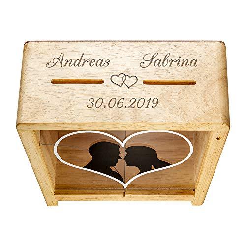 Casa Vivente Spardose zur Hochzeit mit Gravur, Motiv Herzen, Personalisiert mit Namen und Datum, Aus Holz, Verpackung für Geldgeschenke