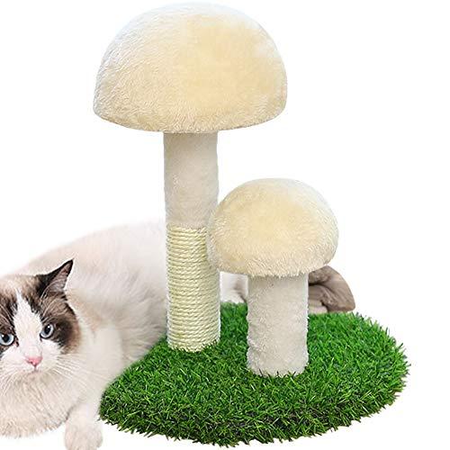 Umora猫爪とぎタワー きのこ形 可愛い 猫のおもちゃ 爪磨き サイザル麻 置物 ストレス解消 運動不足解消 安全 家具保護(白いフラシ天)