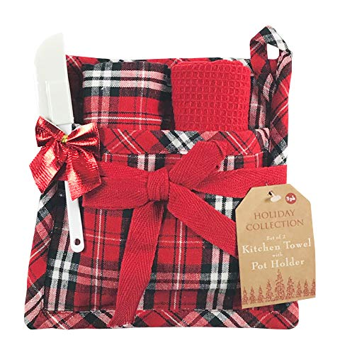 Holiday Christmas Kitchen Gift Set: Two Hand Towels: One Plaid and One Solid Red Waffle, One Matching Pot Holder and One Mini Spatula (Black Red Plaid)