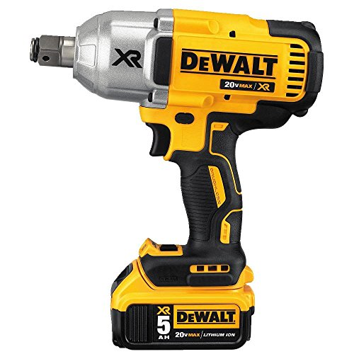 DEWALT 20V MAX XR Cordless Impact Wrench with Hog Ring, 1/2-Inch, 5-Amp Hour (DCF897P2)