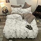 Morbuy Bettwäsche Bettbezug Set 4teilig Hypoallergen Mikrofaser Bettgarnitur Bettwäsche-Set mit Reißverschluss Schließung + 2 Kissenbezüge 1 Bettlaken (200x230cm/2.0M,Marmor)