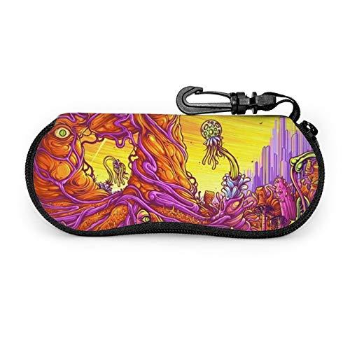 Rick&Morty - Funda para gafas de sol, funda protectora portátil con cremallera de neopreno suave con clip para cinturón
