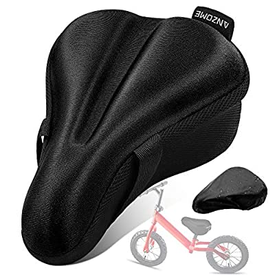 """ANZOME Kids Gel Bike Seat Cushion Cover for Boys & Girls Bicycle Seats, 9""""x6"""" Memory Foam Child Bike Seat Cover Extra Soft Small Bicycle Saddle Pad with Water & Dust Resistant Cover-Black"""