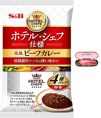 Japanese Instant Curry Beef Curry Sauce with Vegetables (5.9oz (170g) x 4 pcs) with Spoon, Fork, Chopsticks Set -Medium Spicy , Hotel Chef