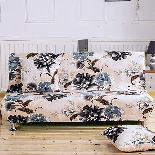 Armlose Sofabezug,All-Inclusive Blumen Ohne Armlehne Schlafsofa Bettdecke, Elastischer Sofa Cover Ohne Armlehnen Sofa überwurf (K023,185-215cm)