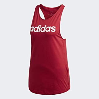 adidas Women's Essentials Linear Loose Tank Tops, Red (Active Maroon/white), X-Large, 20-22